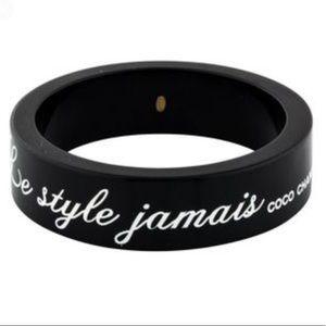 Chanel Resin Black Logo Bangle La Mode se Demode
